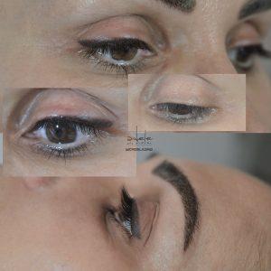 eyeliner cu efect de indesire a genelor si lifting & sprancene cu efect pudrat